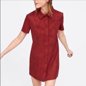 NWT. Zara burgundy button down suede dress